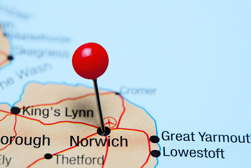 A map of Norfolk with a pin on Norwich.